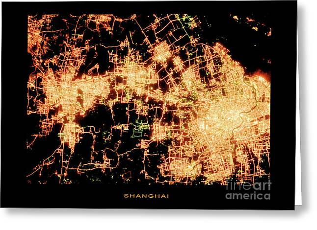 Shanghai From Space Greeting Card by Delphimages Photo Creations