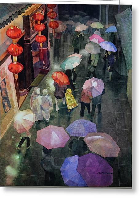 Shanghai Shoppers Greeting Card by Kris Parins
