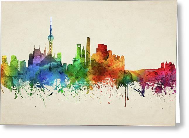 Shanghai Skyline Chsh05 Greeting Card by Aged Pixel