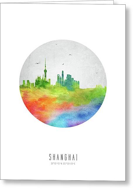 Shanghai Skyline Chsh20 Greeting Card by Aged Pixel
