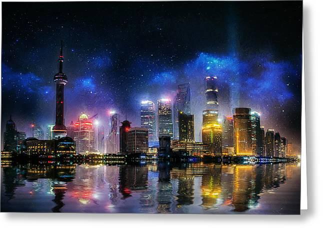 Shanghai Skyline Greeting Card by Ian Mitchell