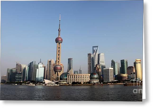 Shanghai Skyline Greeting Card by Thomas Marchessault