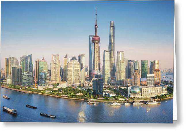 Shanghai Skyline With Modern Urban Skyscrapers Greeting Card