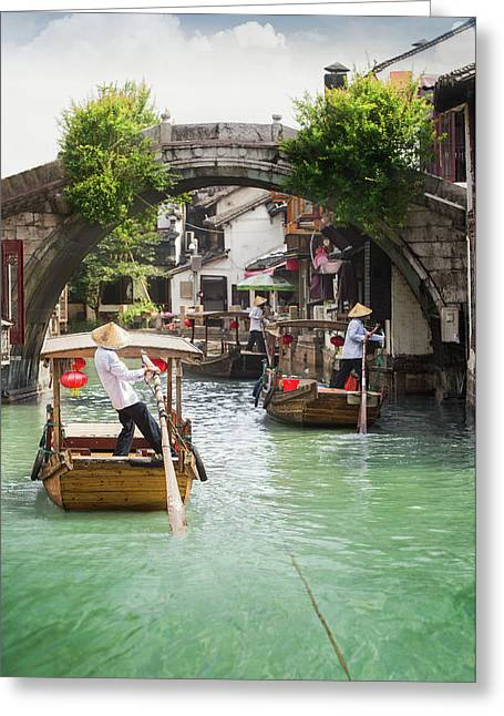 Shanghai Zhujiajiao Town  Greeting Card by Anek Suwannaphoom