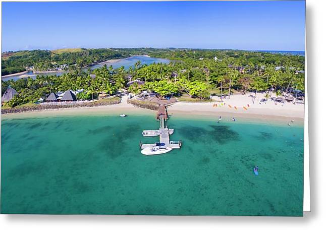 Greeting Card featuring the photograph Shangrila Fiji Aerial Panorama by Brad Scott
