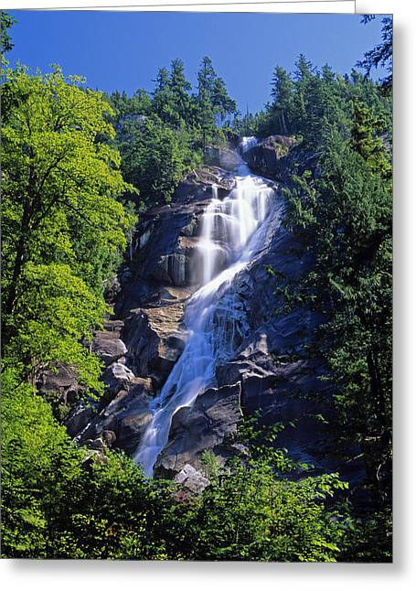 Long Shot Greeting Cards - Shannon Falls, Sea To Sea Highway Greeting Card by Mike Grandmailson