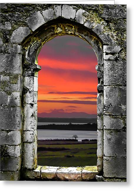 Greeting Card featuring the photograph Shannon Sunrise Through Medieval Arch by James Truett
