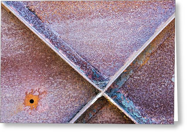 Greeting Card featuring the photograph Shapes And Textures On Bunker Door by Gary Slawsky