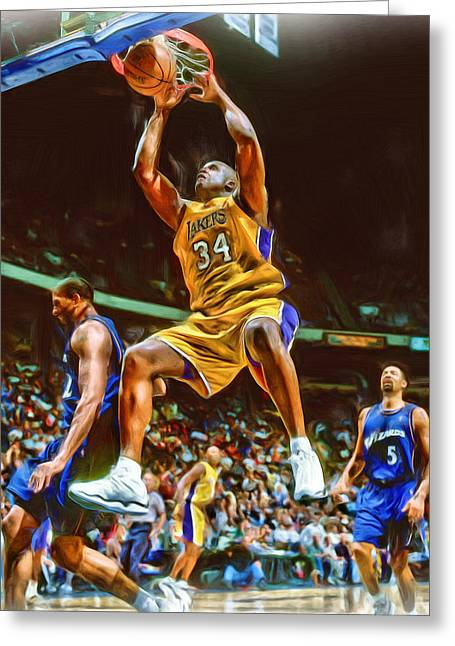 Shaquille O'neal Los Angeles Lakers Oil Art Greeting Card by Joe Hamilton