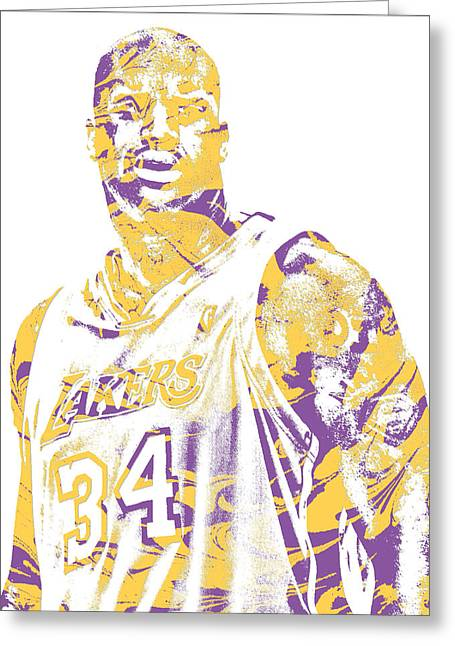 Shaquille Oneal Los Angeles Lakers Pixel Art 7 Greeting Card