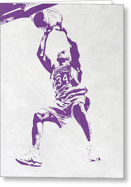 Shaquille O'neal Los Angeles Lakers Pixel Art Greeting Card by Joe Hamilton