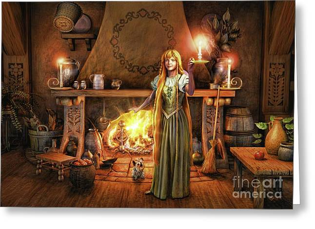 Share My Fire And Candle Light Greeting Card by Dave Luebbert