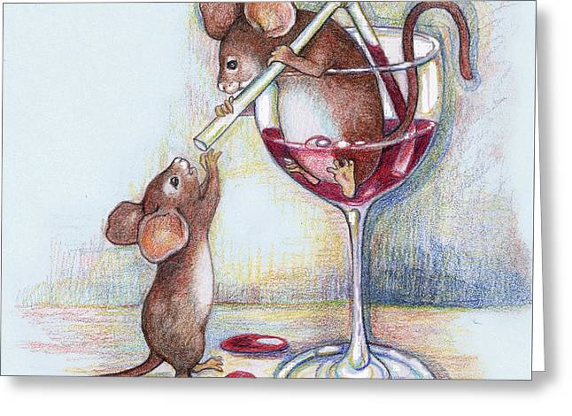 Sharing A Good Red Greeting Card by Peggy Wilson