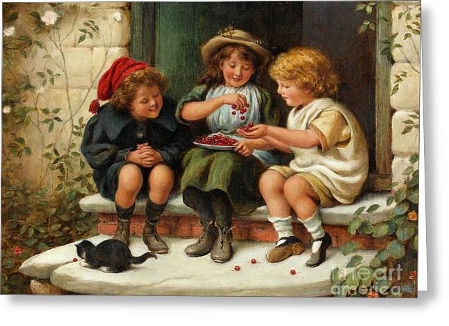 Sharing The Cherries Greeting Card by Joseph Clark