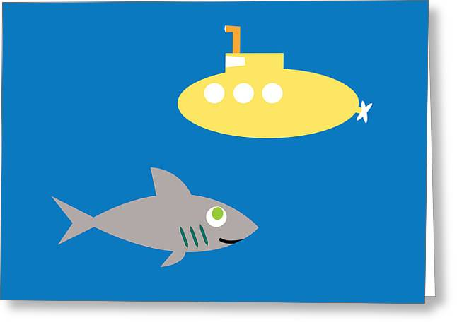 Shark And Submarine Greeting Card by Pbs Kids