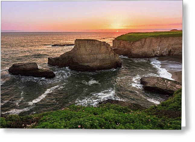 Shark Fin Cove Sunset Greeting Card
