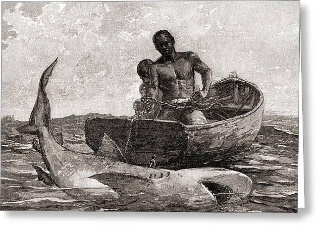 Shark Fishing, Nassau Bar Greeting Card
