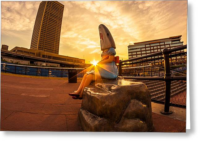 Shark Girl Dawn - Square Greeting Card