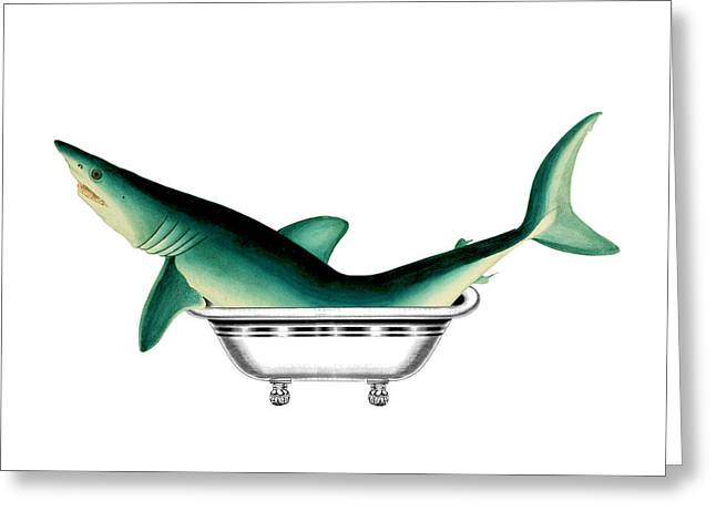 Shark In The Bath Greeting Card by Madame Memento
