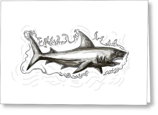 Shark Swimming Water Tattoo Greeting Card by Aloysius Patrimonio