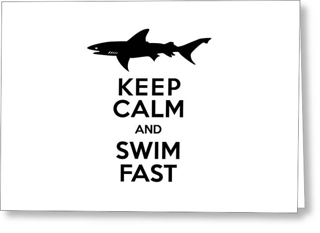 Sharks Keep Calm And Swim Fast Greeting Card by Antique Images