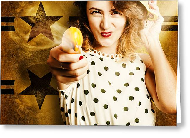 Sharp Shooting Housewife Feeding An Army Greeting Card by Jorgo Photography - Wall Art Gallery