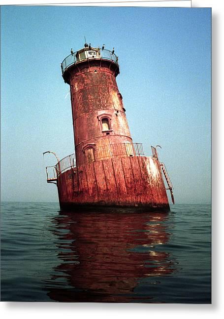 Sharps Island Lighthouse Chesapeake Bay Maryland Greeting Card by Wayne Higgs
