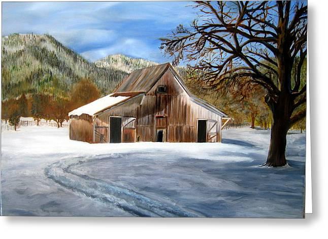 Shasta Winter Barn Greeting Card