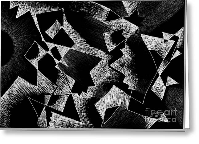 Shattered - Dark Version Greeting Card by Helena Tiainen