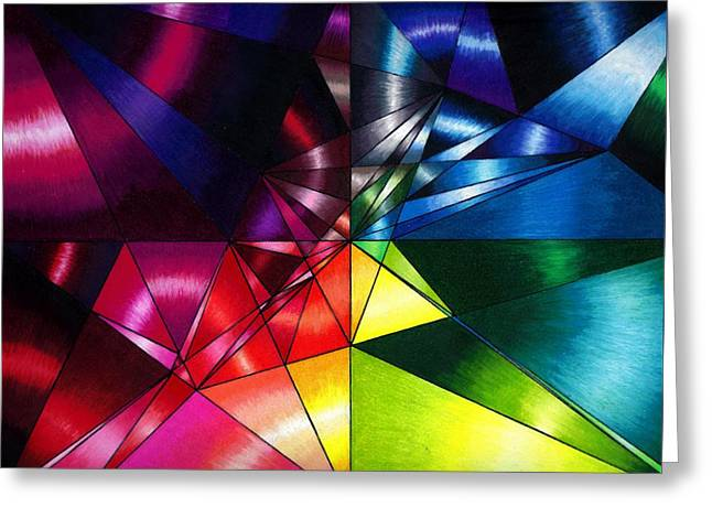 Shattered Rainbow Triangles Optical Art Greeting Card by Nalinne Jones