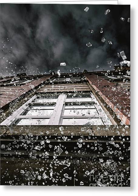 Shattering Pieces Of Glass Falling From Window Greeting Card by Jorgo Photography - Wall Art Gallery