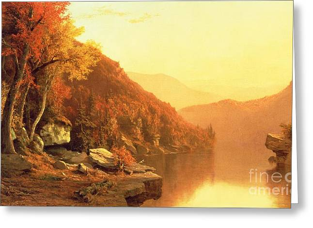 Brown Leaves Greeting Cards - Shawanagunk Mountains Greeting Card by Jervis McEntee