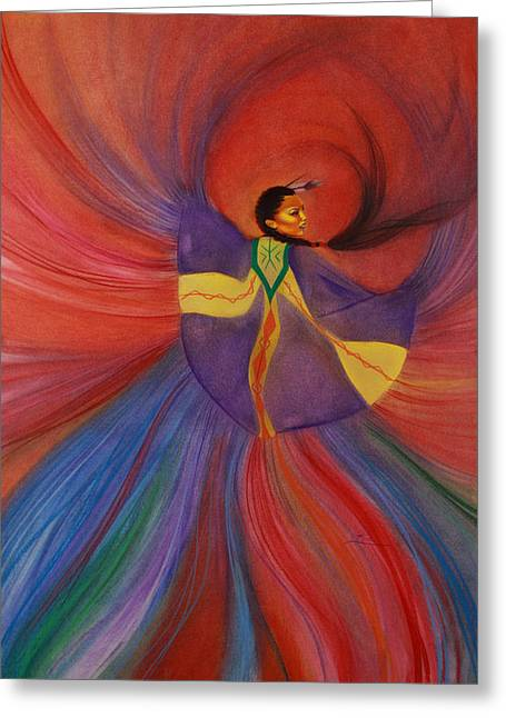 Portray Greeting Cards - Shawl Dancer Greeting Card by Maria Hathaway Spencer