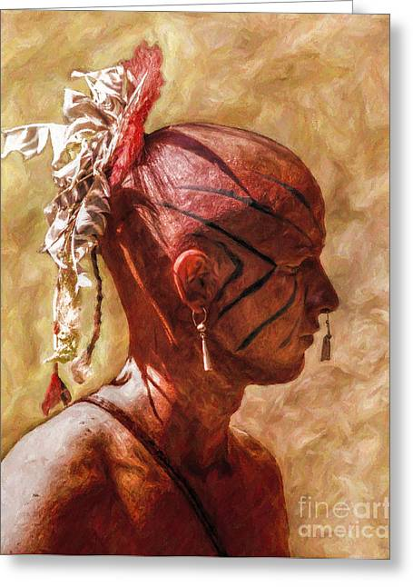 Shawnee Indian Warrior Portrait Greeting Card