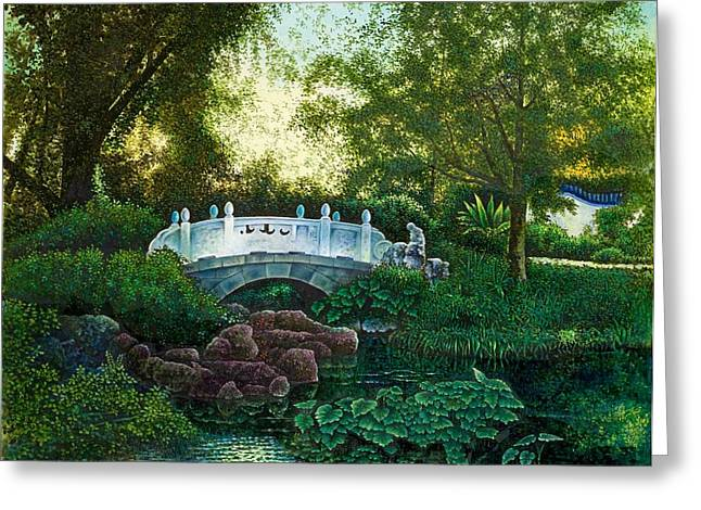 Shaw's Chinese Garden Greeting Card by Michael Frank
