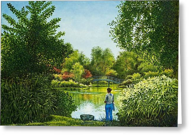 Shaw's Garden's Admirer Greeting Card by Michael Frank