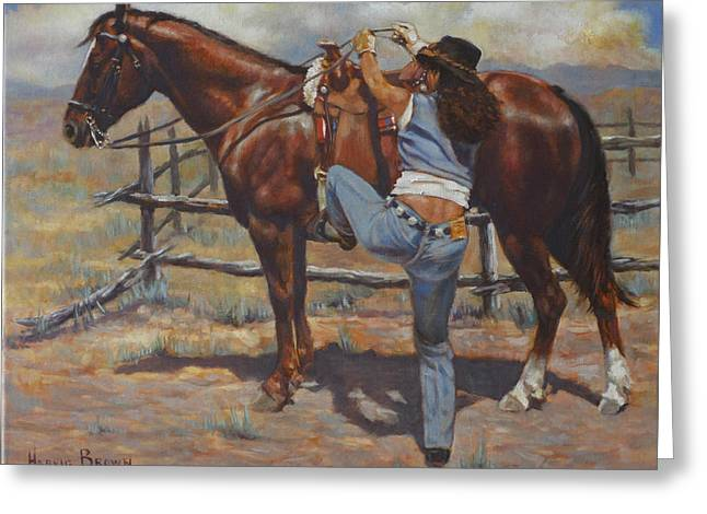 Shawtie-butt And Cowboy Greeting Card by Harvie Brown