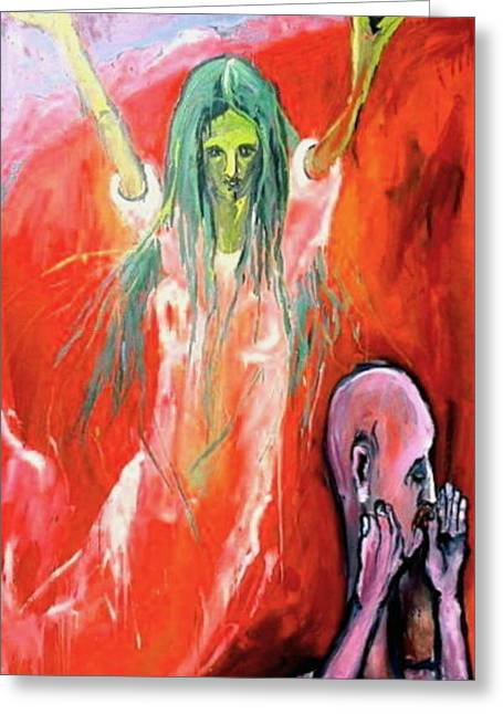 Greeting Card featuring the painting She-angel by Kenneth Agnello