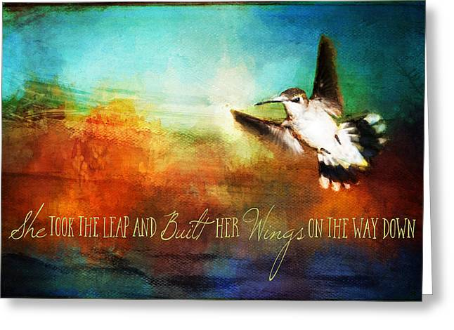 She Built Her Wings Greeting Card