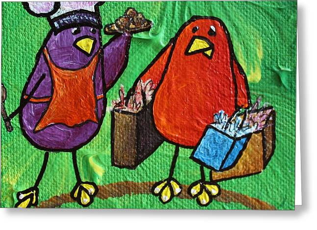 She Cooks He Shops Greeting Card by LimbBirds Whimsical Birds