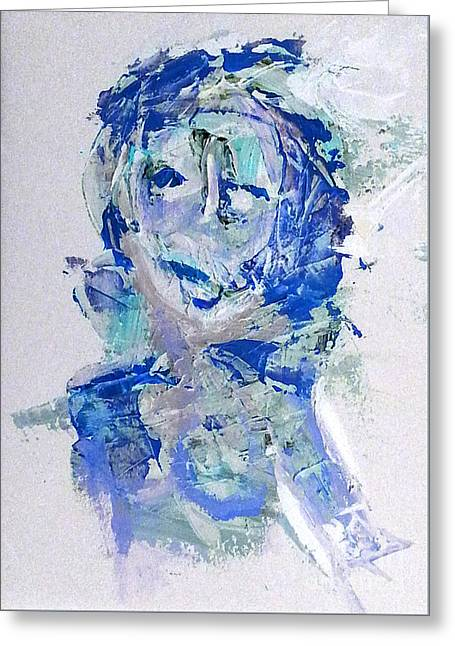 She Dreams In Blue Greeting Card