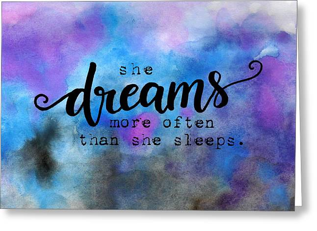 She Dreams Pillow Greeting Card by Michelle Eshleman