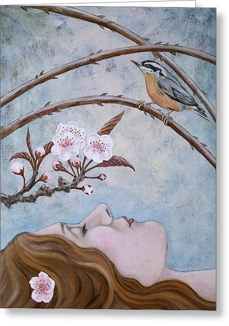 She Dreams The Spring Greeting Card by Sheri Howe