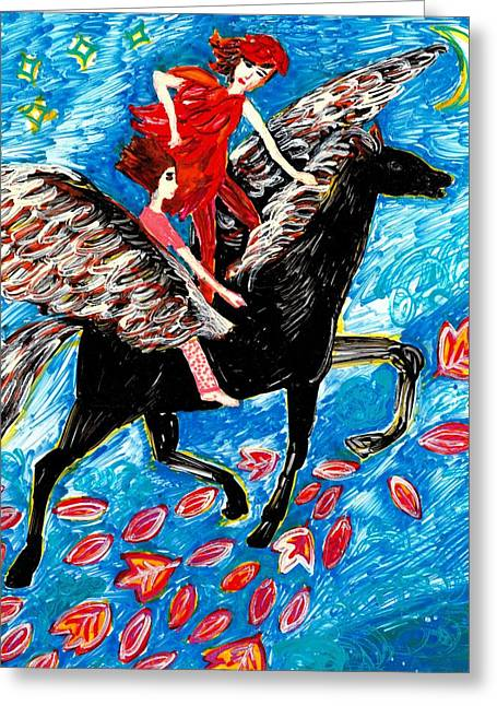 She Flies With The West Wind Greeting Card by Sushila Burgess