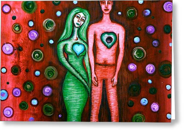 She Grieves The Hole In His Heart-red Greeting Card by Brenda Higginson