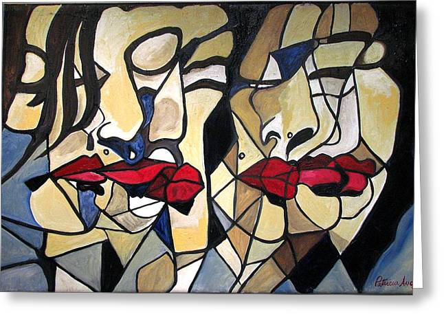 She Had Red Lips Greeting Card by Patricia Arroyo