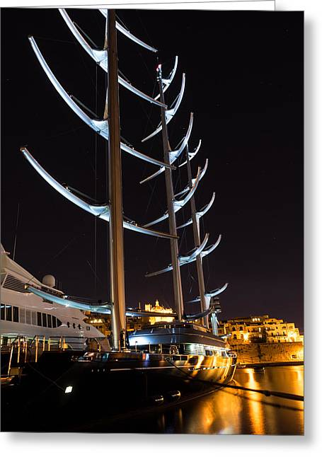She Is So Special - The Luxurious Maltese Falcon Superyacht Greeting Card by Georgia Mizuleva