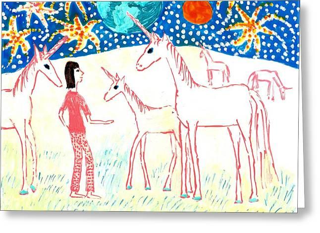 She Meets The Moon Unicorns Greeting Card by Sushila Burgess