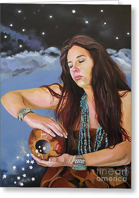 She Paints With Stars Greeting Card by J W Baker