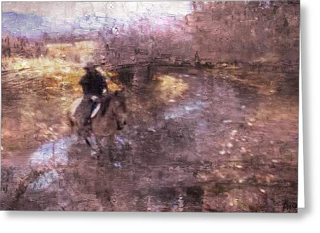 She Rides A Mustang-wrangler In The Rain II Greeting Card